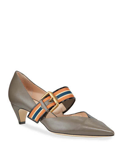 45mm Two-Tone Mary Jane Leather Pumps