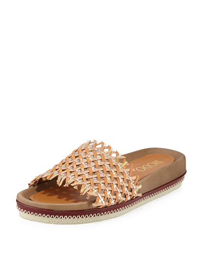 Woven Leather Slide Sandals