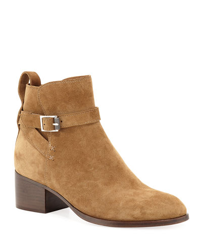Walker Buckle Suede Booties