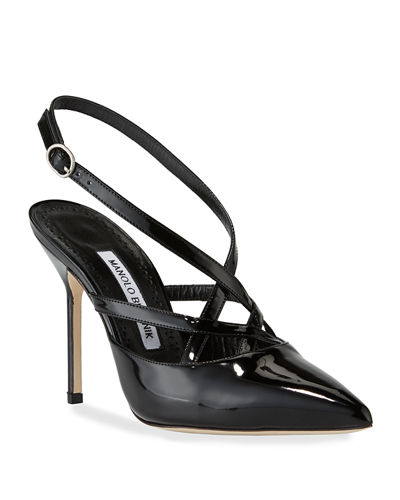 Sagunto Patent Strappy Pumps