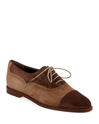 Row Two-Tone Suede Oxford Loafers