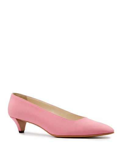 Lady Crepe Point-Toe Kitten-Heel Pump