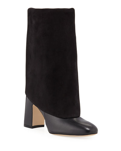Lucinda Mixed Leather Fold Over Booties by Stuart Weitzman
