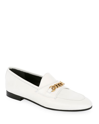 Leather Loafers with Chain Detail