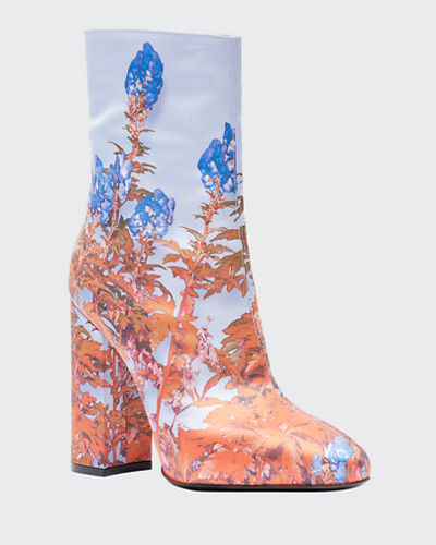 Flower-Print Fabric Booties