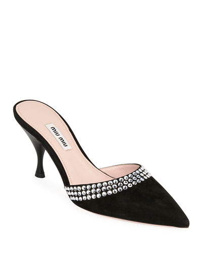 Pointed-Toe Suede Mules with Crystal Trim