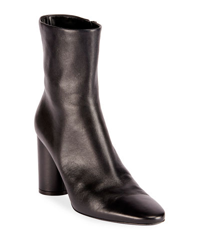 Oval-Heel Calf Leather Zip Booties