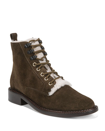 Cabria Lace-Up Booties with Fur Trim