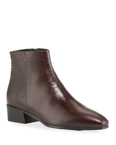 Fuoco Embossed Leather Booties by Aquatalia