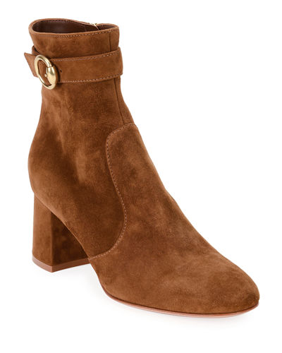 Suede Ankle Booties with Gold Buckle