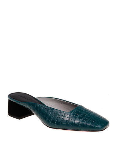 Daisy Croc-Embossed Leather Slide Mules