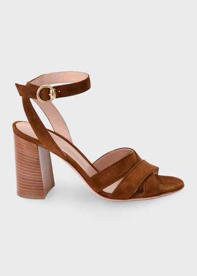Crisscross Suede Ankle-Strap Sandals