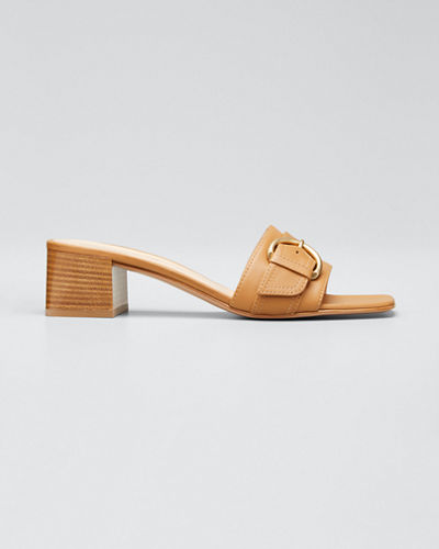 Leather Buckle Mule Heeled Sandals