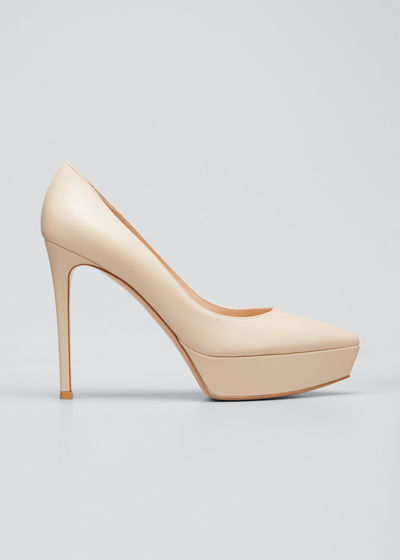 Leather Platform Point-Toe Pump