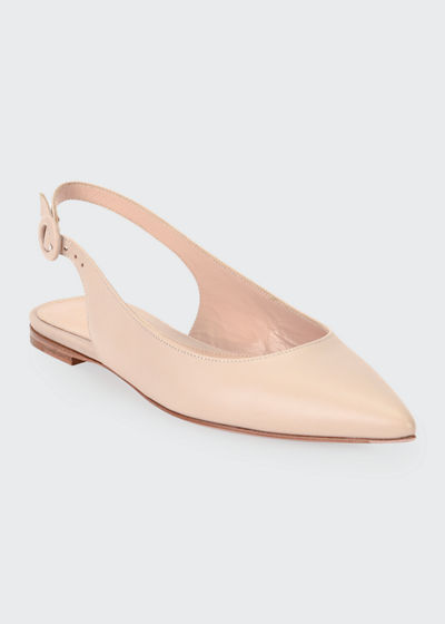 Leather Pointed-Toe Slingback Flats