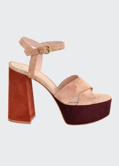 Crisscross Colorblock Platform Sandals