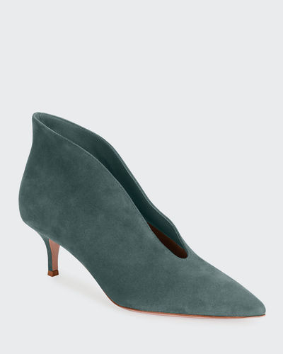 Suede V-Neck Kitten-Heel Booties