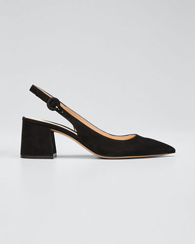 Suede Block-Heel Point-Toe Slingback Pumps