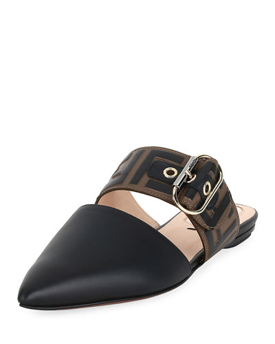 Leather Mules with FF Strap