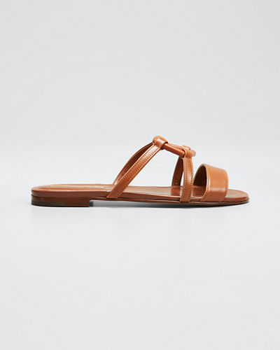 Oratasa Flat Leather Slide Sandals