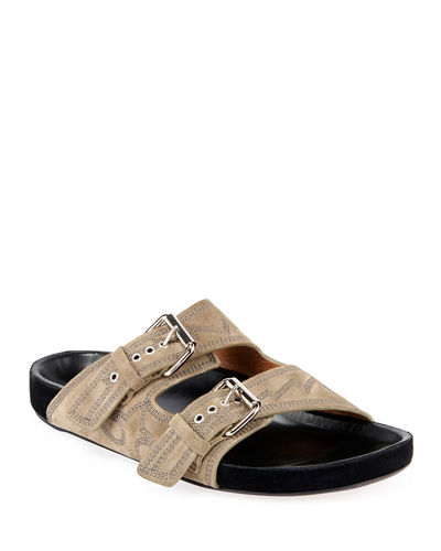 Lennyo Embroidered Suede Sandals