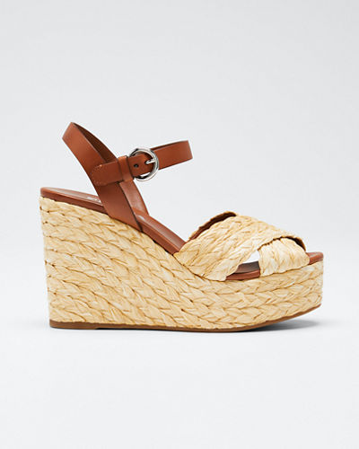 Crisscross Raffia Wedge Sandals