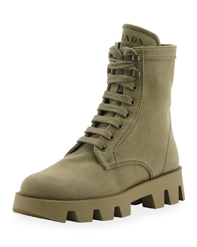 Lug-Sole Canvas Combat Boots