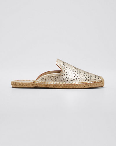 Ami Perforated Leather Espadrille Mules
