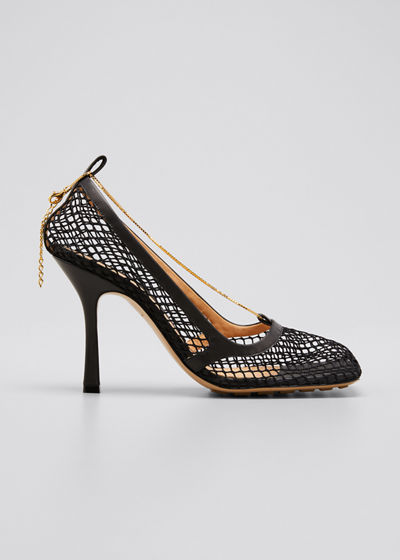 Net Square-Toe Chain Pumps