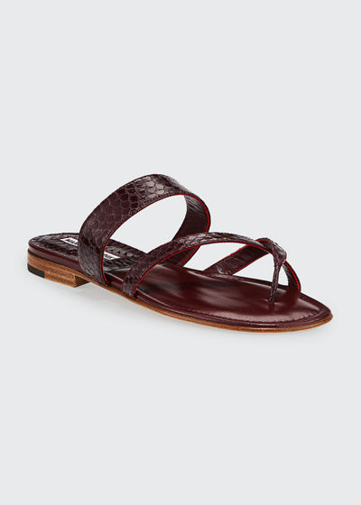 Susa Strappy Snakeskin Slide Sandals