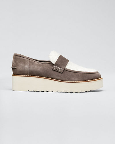 Zola Suede and Shearling Chunky Loafers