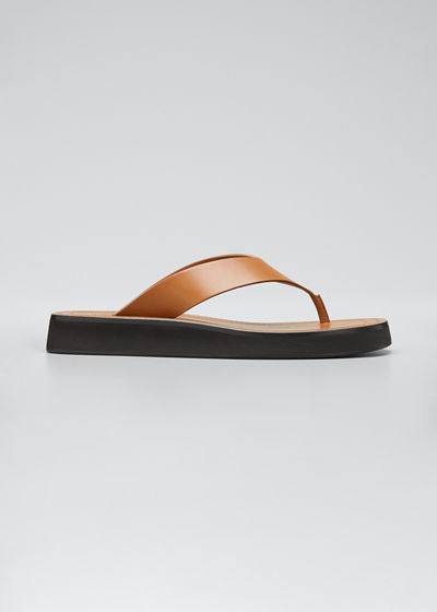Ginza Leather Low-Wedge Sandals