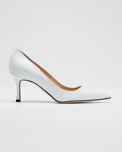 Newcio Leather Pointed Pumps