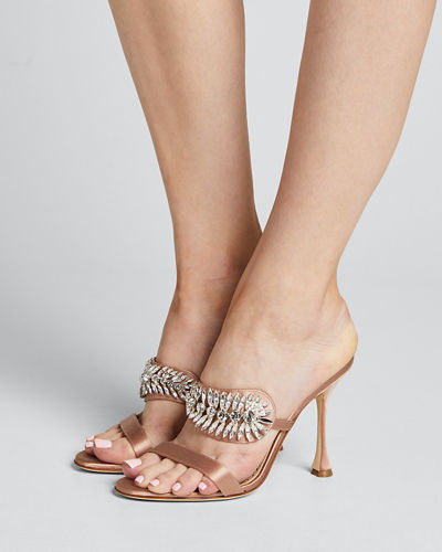 Skysan Satin Crystal Sandals