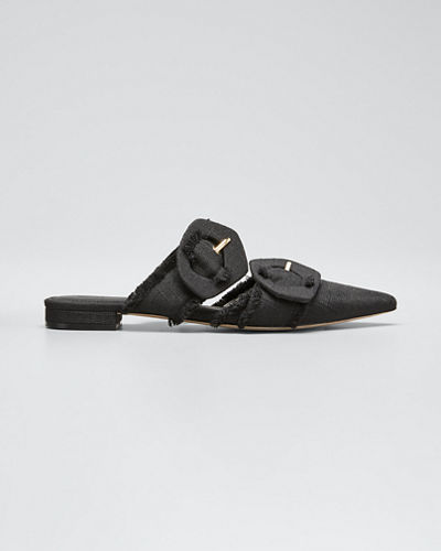 Lulu Linen Pointed Flat Mules