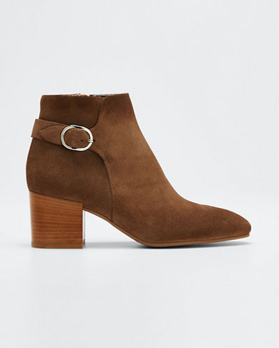 Tacey Suede Buckle Ankle Booties