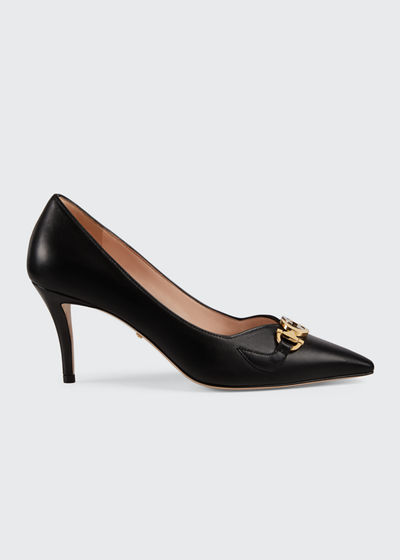 Zumi 75mm Leather Horsebit Pumps