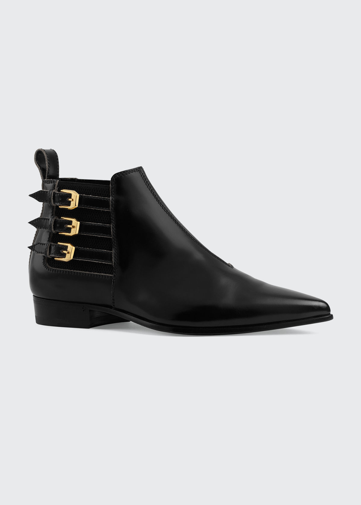 Gucci Boots QUEBEC 3-BUCKLE BOOTIES WITH ELASTIC