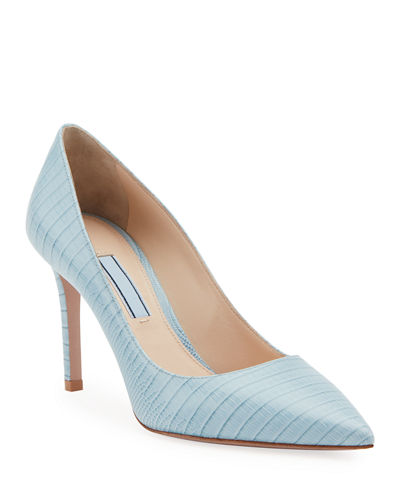 Stamped Lizard Pointed Pumps