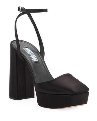 Satin Cap-toe Platform Pumps