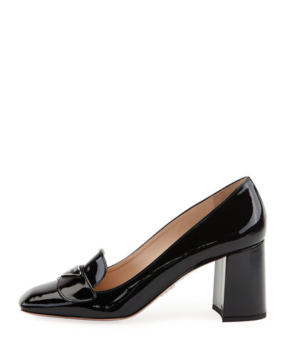 Patent Logo Loafer Pumps