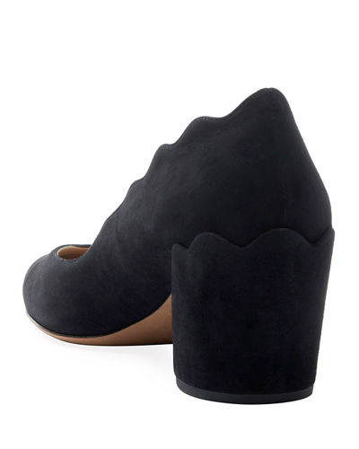 Laurena Suede Scallop Pumps