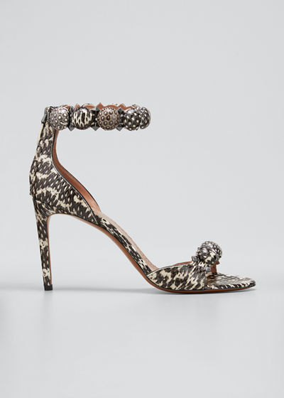Bombe Stud Snakeskin Ankle-Wrap Sandals
