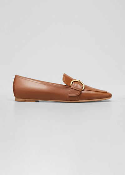 5mm Flat Square-Toe Leather Loafers