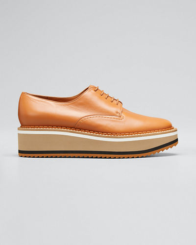 Berlin Leather Platform Derby Shoes