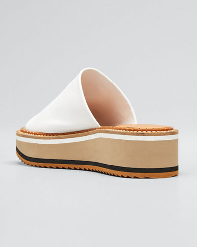 Leather Wedge Slide Sandals
