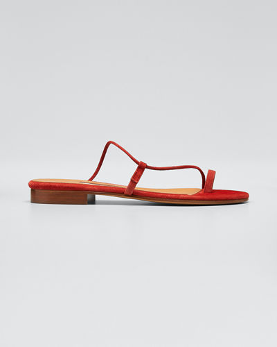 Susan Toe-Ring Leather Slide Sandals
