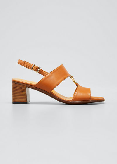 Leather Ring Slingback Sandals