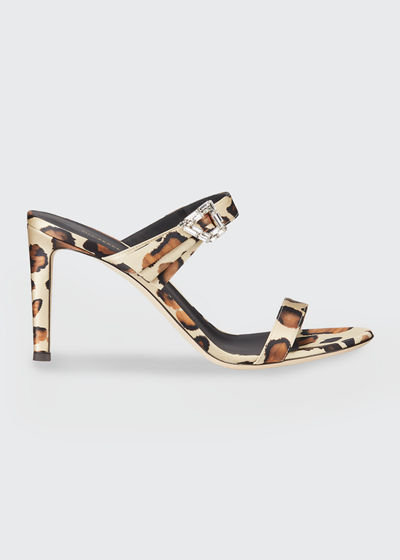 85mm 2-Band Leopard Fabric Sandals