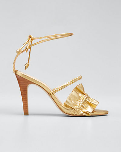 Flora Metallic Ruffle Ankle-Wrap Sandals